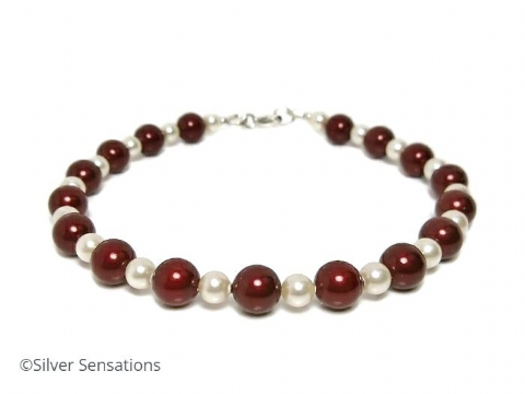 Bridesmaids Pearls Bracelet With Burgundy & Ivory Cream Swarovski Pearls